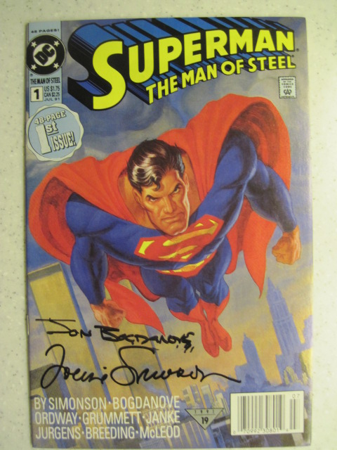 SUPERMAN MAN OF STEEL # 1 DC SIGNED BY SIMONSON BOGDANOVE ACTION ADVENTURE NM-
