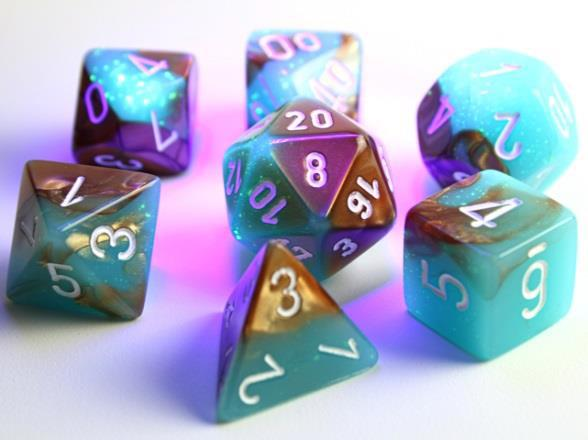 Chessex Lab Dice 3 Gemini: Poly Luminary Copper/Turquoise/White (7)