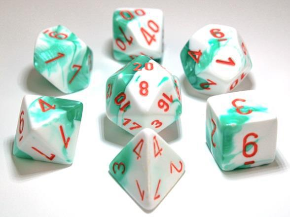 Chessex Lab Dice Gemini: Poly Mint Green / White / Orange 7 Dice Set