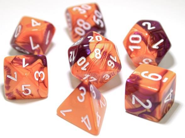 Chessex Lab Dice 3 Gemini: Poly Orange/Purple/White (7)