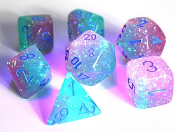 Chessex Lab Dice 3 Gemini: Poly Luminary Gel Green/Pink/Blue (7)