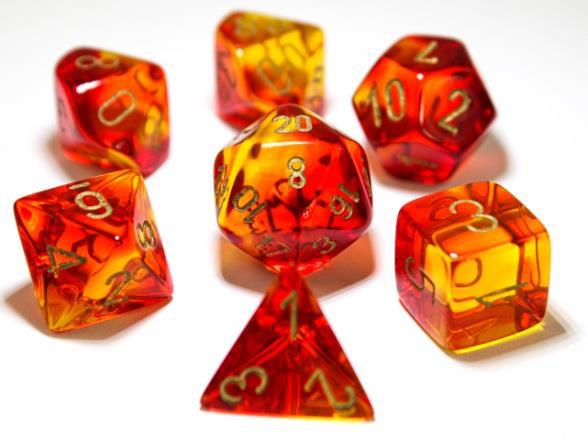 Chessex Lab Dice 3 Gemini: Poly Red/Yellow/Gold (7)