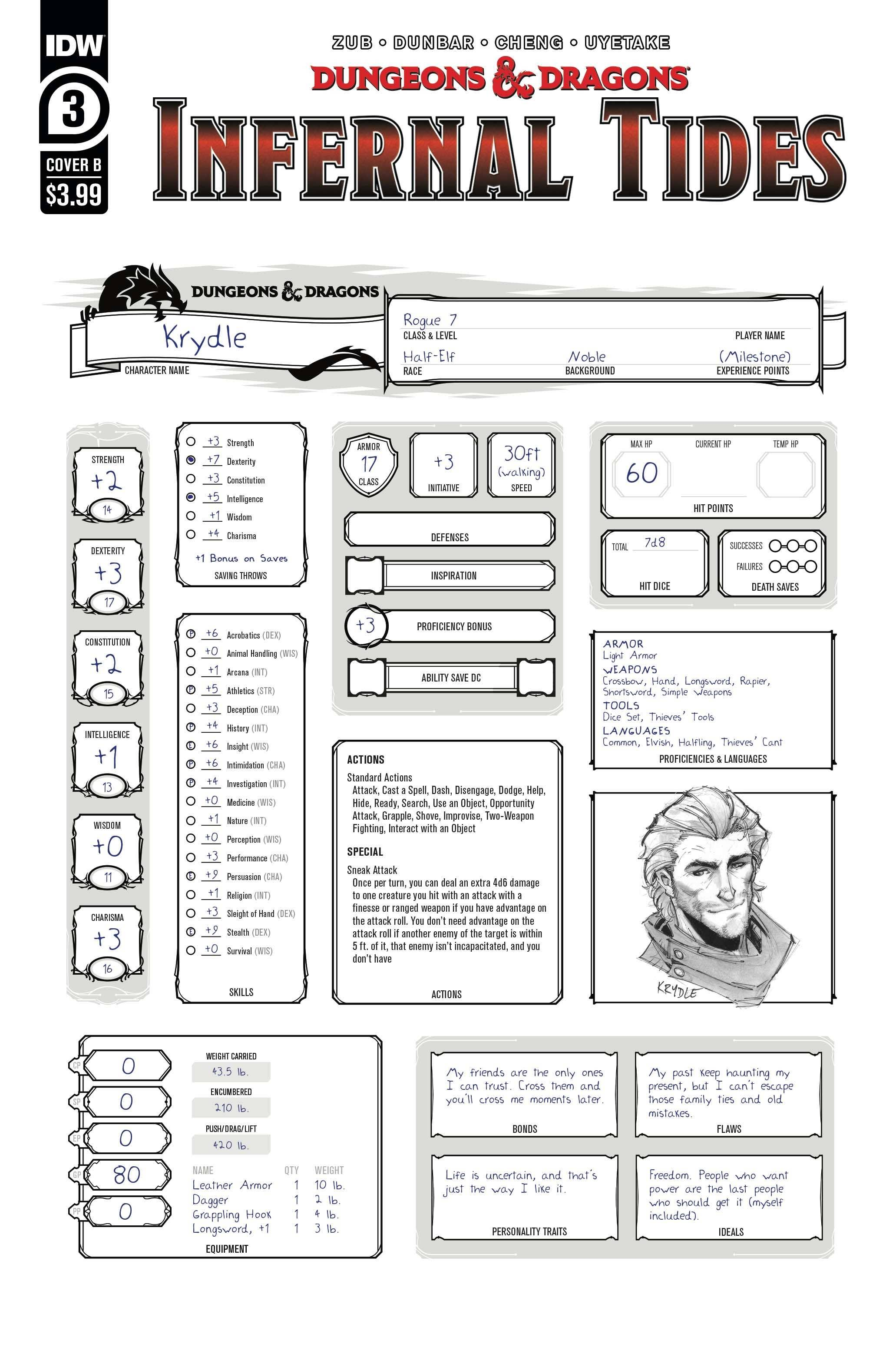 Dungeons & Dragons Infernal Tides #3 Character Sheet Variant