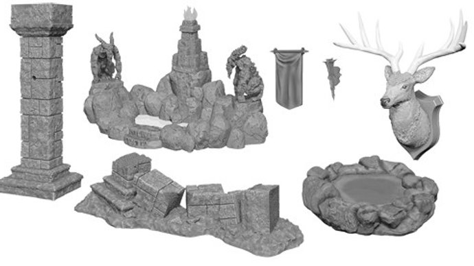 Wizkids Deep Cuts Unpainted Miniatures: W11 Poles & Pillars